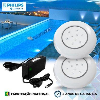 KIT ILUMINAÇÃO DE PISCINA 18w | 12,5 cm | COR FIXA | 2 Luminárias | LED PHILIPS
