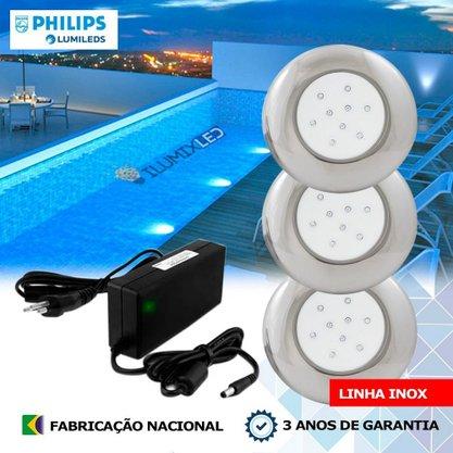 KIT ILUMINAÇÃO DE PISCINA 18w | 12,5 cm | COR FIXA | 3 Luminárias | LED PHILIPS