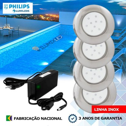 KIT ILUMINAÇÃO DE PISCINA 18w | 12,5 cm | COR FIXA | 4 Luminárias | LED PHILIPS