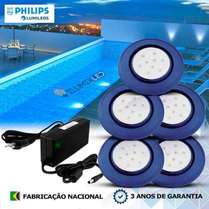 KIT ILUMINAÇÃO DE PISCINA 18w | 12,5 cm | COR FIXA | 5 Luminárias | LED PHILIPS