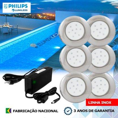 KIT ILUMINAÇÃO DE PISCINA 18w | 12,5 cm | COR FIXA | 6 Luminárias | LED PHILIPS