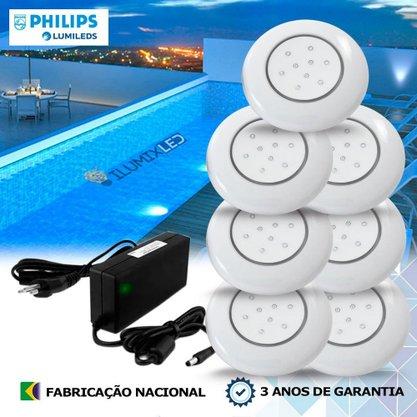 KIT ILUMINAÇÃO DE PISCINA 18w | 12,5 cm | COR FIXA | 7 Luminárias | LED PHILIPS