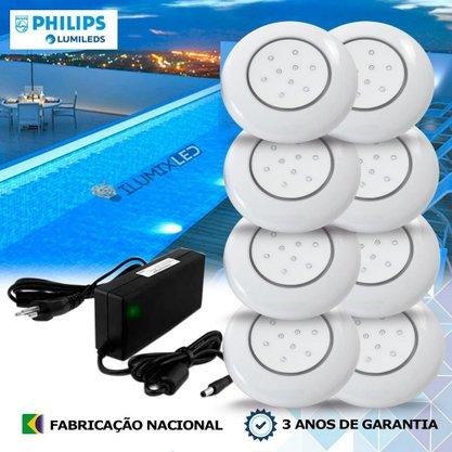 KIT ILUMINAÇÃO DE PISCINA 18w | 12,5 cm | COR FIXA | 8 Luminárias | LED PHILIPS