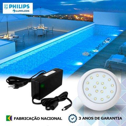 KIT ILUMINAÇÃO DE PISCINA 18w | 8 cm | COR FIXA | 1 Luminárias | LED PHILIPS