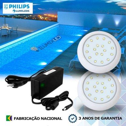 KIT ILUMINAÇÃO DE PISCINA 18w | 8 cm | COR FIXA | 2 Luminárias | LED PHILIPS