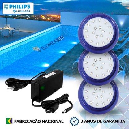KIT ILUMINAÇÃO DE PISCINA 18w | 8 cm | COR FIXA | 3 Luminárias | LED PHILIPS