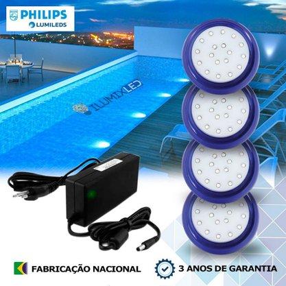 KIT ILUMINAÇÃO DE PISCINA 18w | 8 cm | COR FIXA | 4 Luminárias | LED PHILIPS