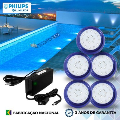 KIT ILUMINAÇÃO DE PISCINA 18w | 8 cm | COR FIXA | 5 Luminárias | LED PHILIPS