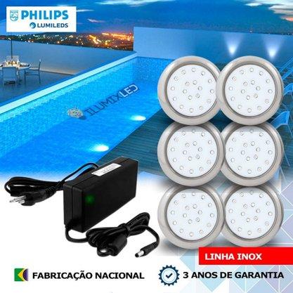 KIT ILUMINAÇÃO DE PISCINA 18w | 8 cm | COR FIXA | 6 Luminárias | LED PHILIPS