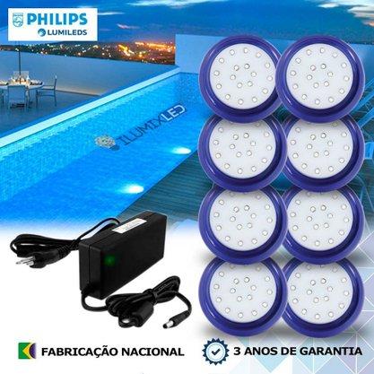 KIT ILUMINAÇÃO DE PISCINA 18w | 8 cm | COR FIXA | 8 Luminárias | LED PHILIPS