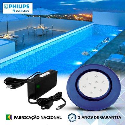 KIT ILUMINAÇÃO DE PISCINA 9w | 12,5 cm | COR FIXA | 1 Luminária | LED PHILIPS
