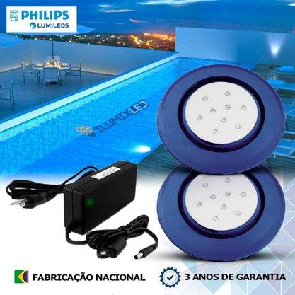KIT ILUMINAÇÃO DE PISCINA 9w | 12,5 cm | COR FIXA | 2 Luminárias | LED PHILIPS