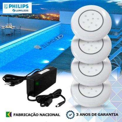 KIT ILUMINAÇÃO DE PISCINA 9w | 12,5 cm | COR FIXA | 4 Luminárias | LED PHILIPS