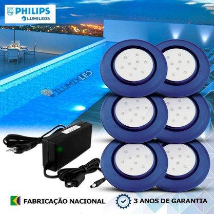 KIT ILUMINAÇÃO DE PISCINA 9w | 12,5 cm | COR FIXA | 6 Luminárias | LED PHILIPS