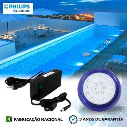 KIT ILUMINAÇÃO DE PISCINA 9w | 8 cm | COR FIXA | 1 Luminárias | LED PHILIPS