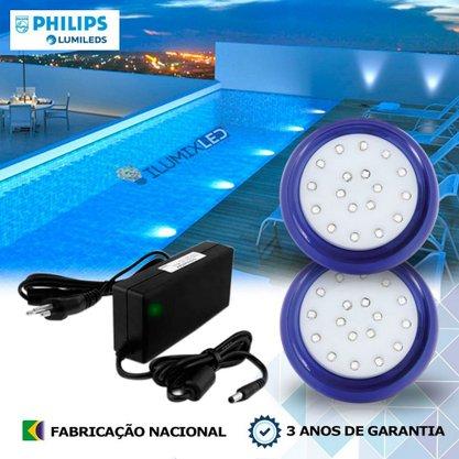 KIT ILUMINAÇÃO DE PISCINA 9w | 8 cm | COR FIXA | 2 Luminárias | LED PHILIPS