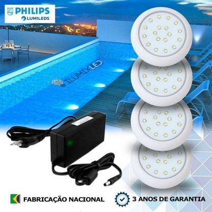 KIT ILUMINAÇÃO DE PISCINA 9w | 8 cm | COR FIXA | 4 Luminárias | LED PHILIPS