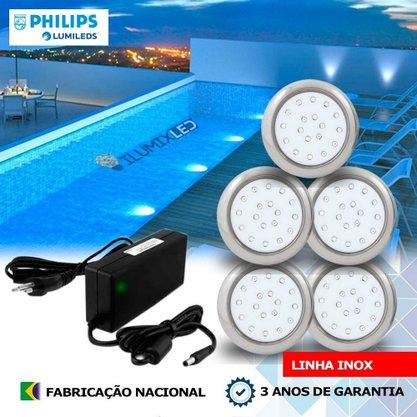 KIT ILUMINAÇÃO DE PISCINA 9w | 8 cm | COR FIXA | 5 Luminárias | LED PHILIPS