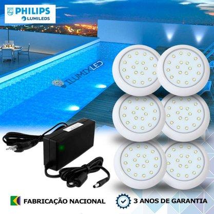 KIT ILUMINAÇÃO DE PISCINA 9w | 8 cm | COR FIXA | 6 Luminárias | LED PHILIPS