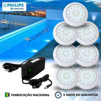 KIT ILUMINAÇÃO DE PISCINA 9w | 8 cm | COR FIXA | 7 Luminárias | LED PHILIPS