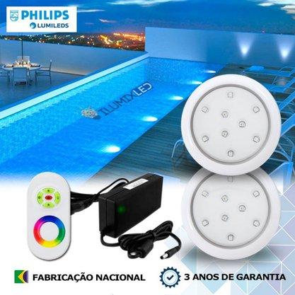 KIT ILUMINAÇÃO DE PISCINA 9w | 8 cm | RGB Sistema Colorido | 2 Luminárias | LED PHILIPS