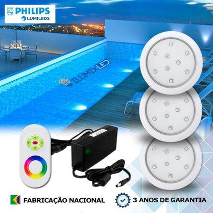 KIT ILUMINAÇÃO DE PISCINA 9w | 8 cm | RGB Sistema Colorido | 3 Luminárias | LED PHILIPS