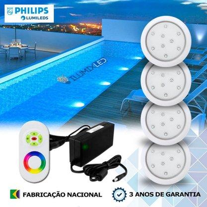 KIT ILUMINAÇÃO DE PISCINA 9w | 8 cm | RGB Sistema Colorido | 4 Luminárias | LED PHILIPS