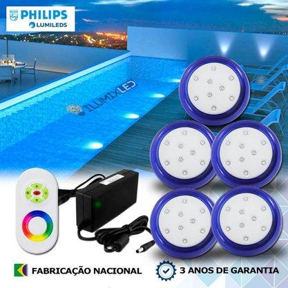 KIT ILUMINAÇÃO DE PISCINA 9w | 8 cm | RGB Sistema Colorido | 5 Luminárias | LED PHILIPS