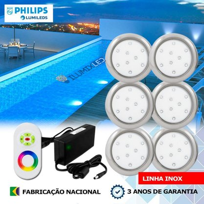 KIT ILUMINAÇÃO DE PISCINA 9w | 8 cm | RGB Sistema Colorido | 6 Luminárias | LED PHILIPS