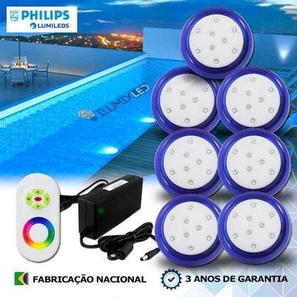 KIT ILUMINAÇÃO DE PISCINA 9w   8 cm   RGB Sistema Colorido   7 Luminárias   LED PHILIPS